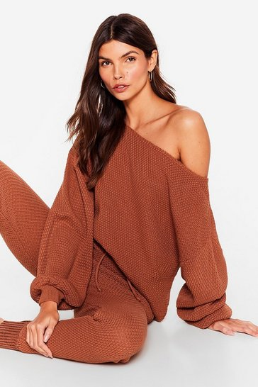 Rust Knit Happens Sweater and Joggers Set