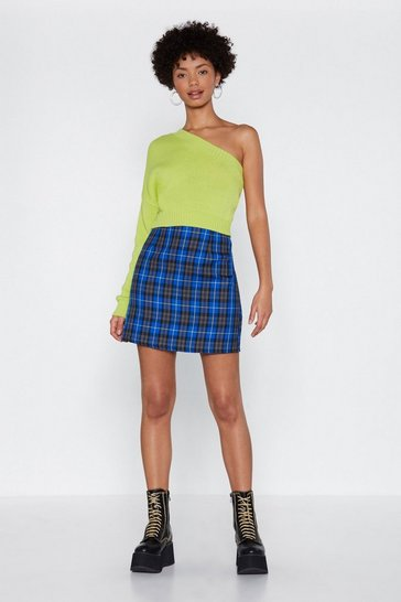 Blue Check On It Plaid Mini Skirt