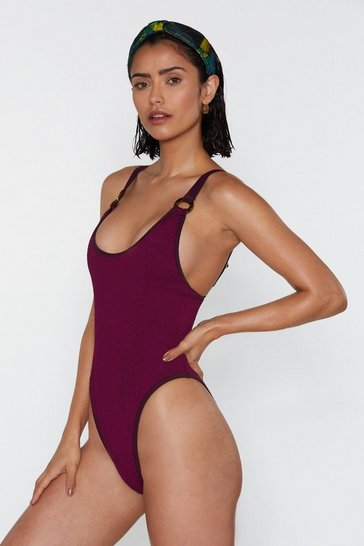 Womens Plum Don't Beach Yourself Up O-Ring Crinkle Swimsuit