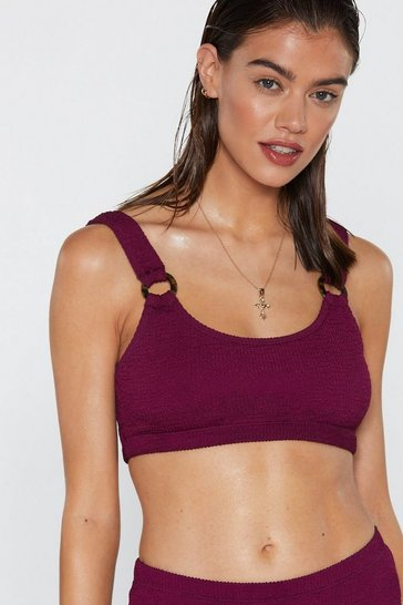 Womens Plum Sky High Crinkle Bikini Top