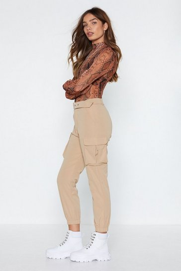 Womens Beige Buckle This Cargo Pants