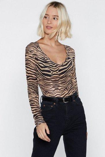 Tan What's Your Sign Zebra Bodysuit