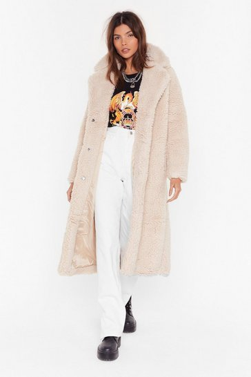Womens Beige Go Long Faux Shearling Coat