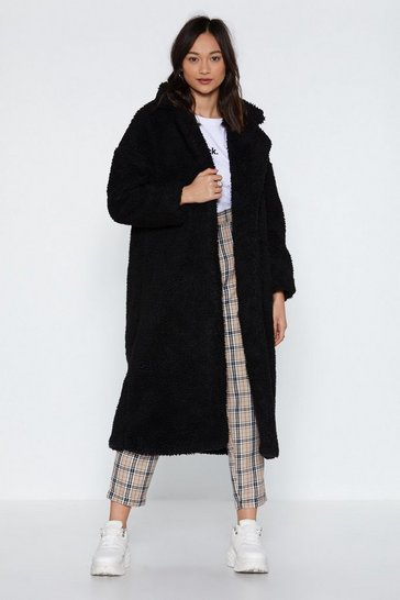 Black Go Long Faux Shearling Coat