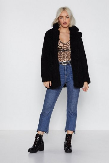 Black Relaxed Faux Shearling Button Down Jacket