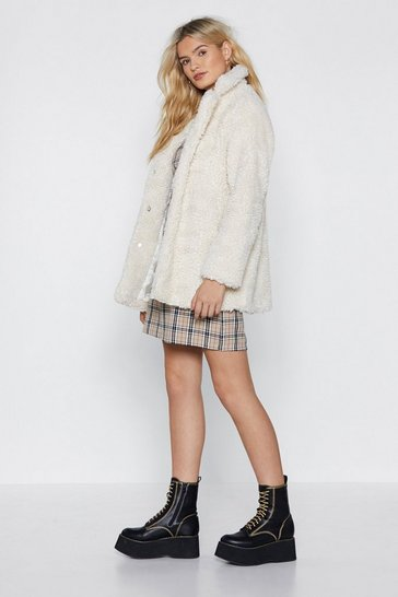 Cream Relaxed Faux Shearling Button Down Jacket