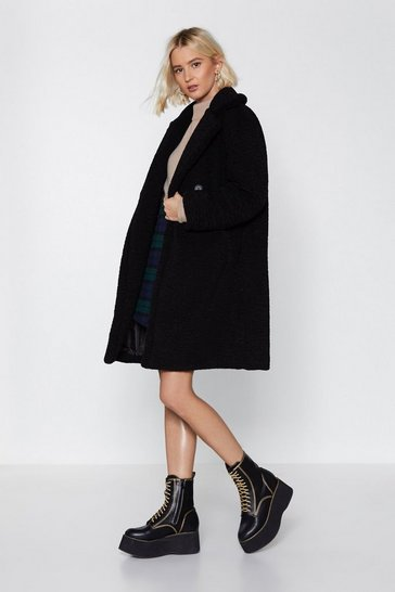 Womens Black I Won't Fur-get You Faux Fur Coat