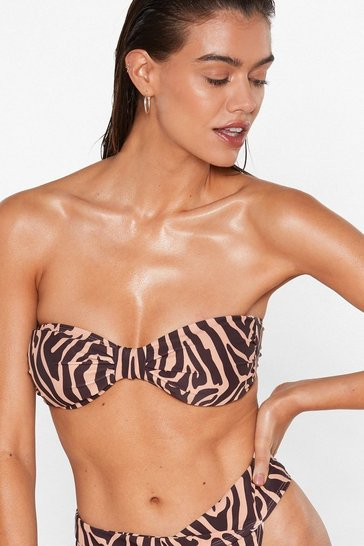 Brown Zebra Print Bikini Top with Clasp Closure