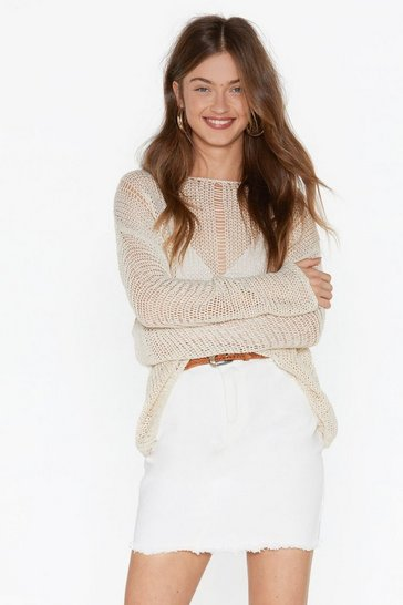 Cream Net Me This Time Distressed Sweater