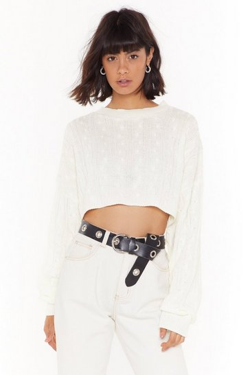 Cream Cropped Cable Knit Sweater