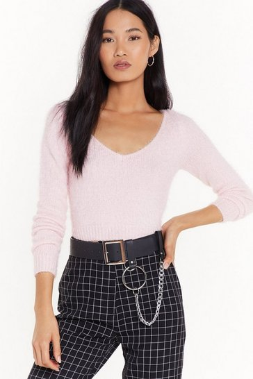 Womens Soft pink This is Knit Cropped Sweater