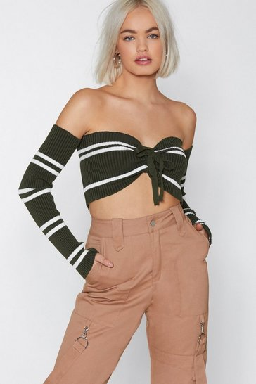 Womens Olive My Gift to You Striped Top