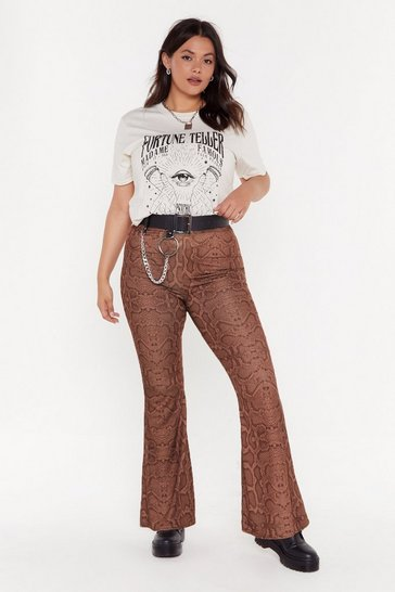 Womens Brown Snake What's Yours Flare Pants