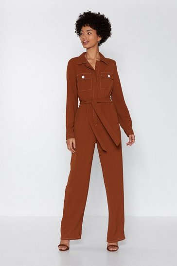 Womens Tan Such a Stitch Utility Boilersuit