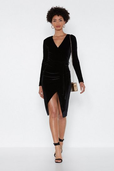 Womens Black It's a Wrap Velvet Dress