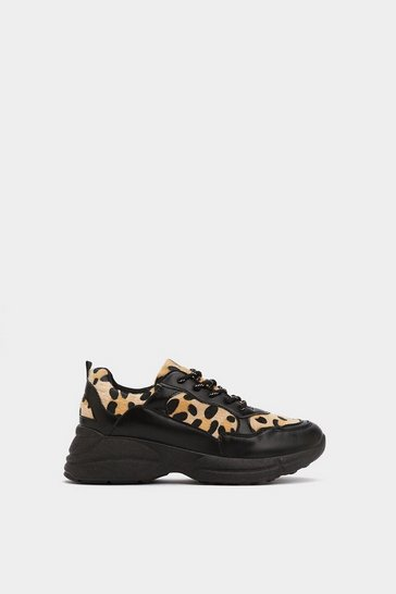 Womens Black On Your Tail Leopard Trainers
