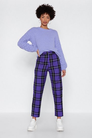 Purple Plaid High Waisted Straight Leg Pants