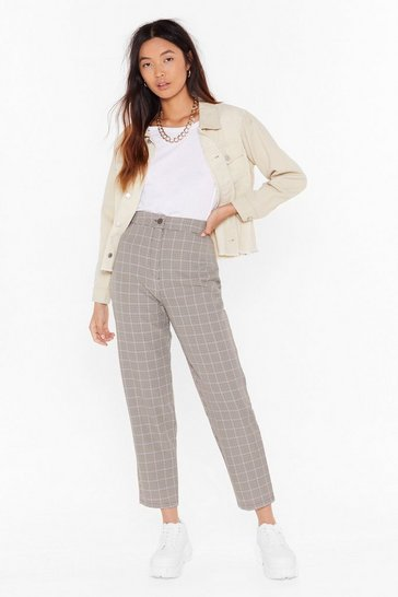 Womens Brown Square Are You Now Check Pants