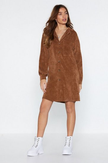 Womens Camel What Shirts the Most Corduroy Shirt Dress