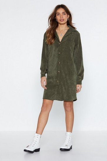Womens Khaki What Shirts the Most Corduroy Shirt Dress