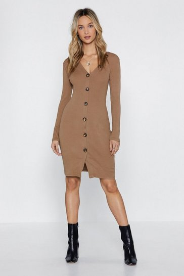 Camel Button Help Myself Midi Dress