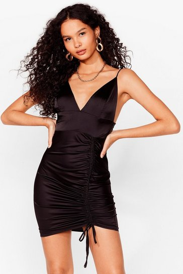 Black Heavens Touch Ruched Satin Dress