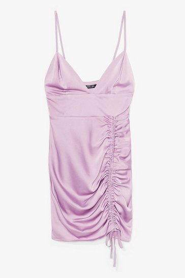 Lavender Fitted Satin Dress with Plunging V-Neckline
