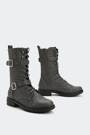 Womens Grey Ten Hut Faux Leather Boot