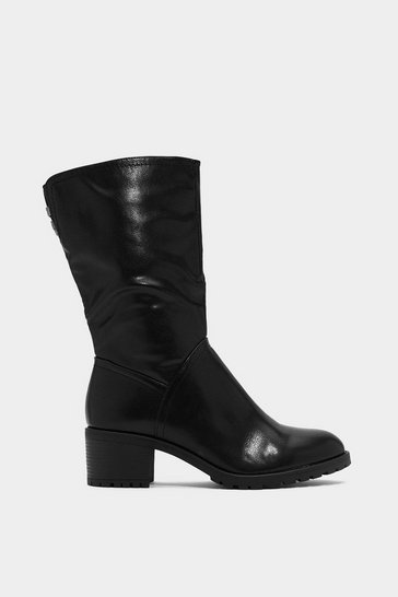 Womens Black World At Your Feet Faux Leather Boot