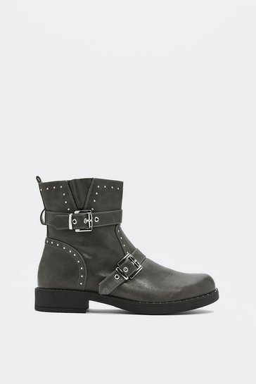 Womens Grey What Have You Pin Up to Studded Boot