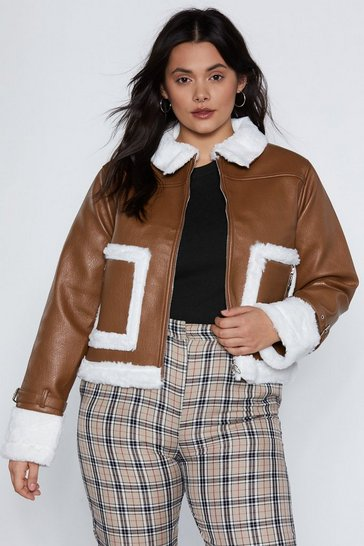 Womens Tan This is Your Captain Speaking Faux Fur Aviator Jacket