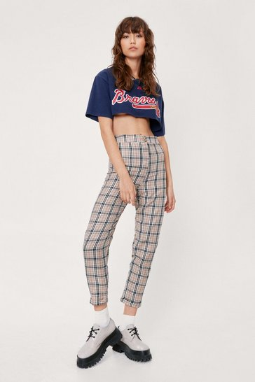 Beige Check High Waisted Tapered Pants
