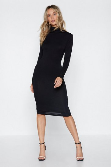Womens Black Time to Face Your Next Turtle Midi Dress