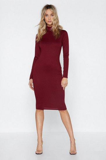 Womens Berry Rib It Real Good Midi Dress