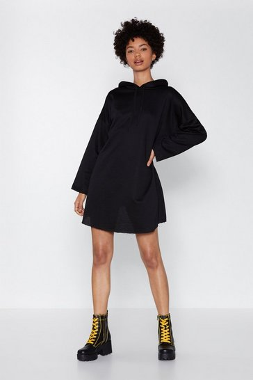 Black No News Hoodie Dress