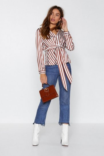 Womens Rust Time is Stripe Satin Shirt
