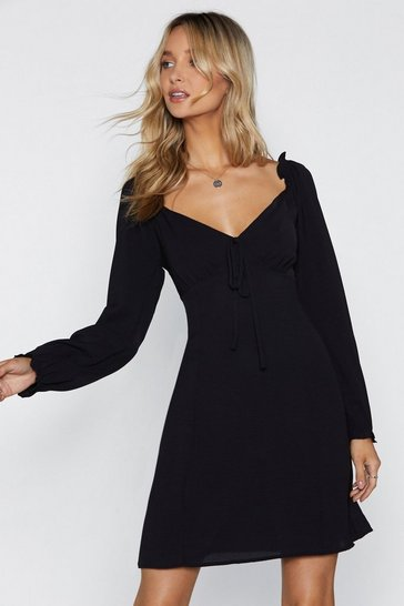 Womens Black Straight From the Shoulder Fit & Flare Dress