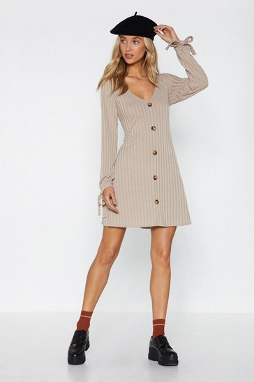 Womens Stone The Go-To Button Dress
