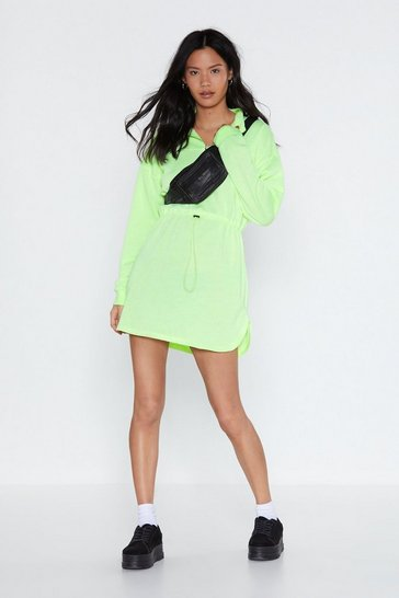 Womens Lime Drawn in Zip Dress