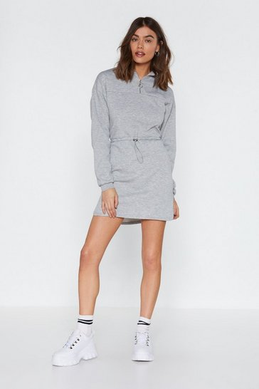 Womens Grey Drawn to You Zip Dress
