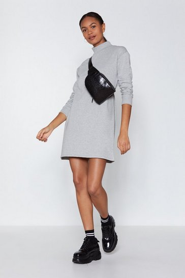 Womens Grey marl High Neck and Call Jumper Dress