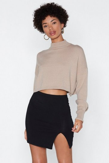 Womens Black Wait a Mini Slit Skirt