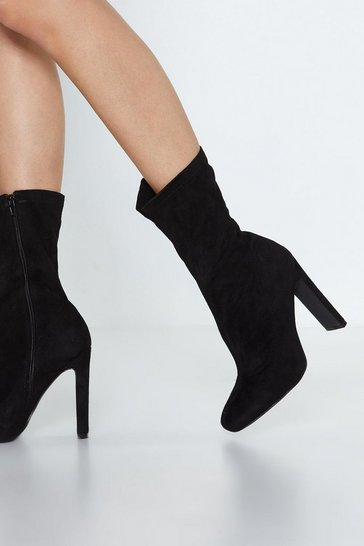Womens Black Faux Suede Life High Ankle Boot