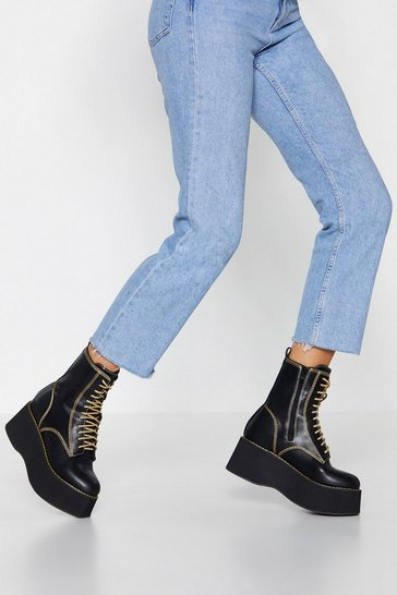 Black Contrast Lace Up Platform Biker Boots