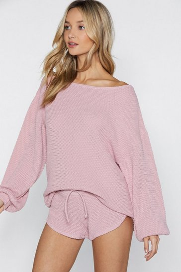 Nude One Shoulder Sweater And Shorts Set