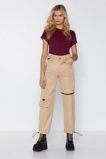 Womens Stone From the Get Cargo Zip Trousers