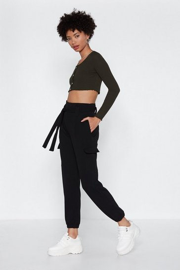 Womens Black Cargo the Distance High-Waisted Pants