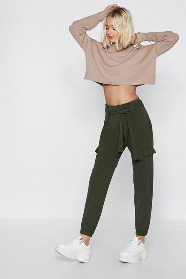 Khaki Cargo the Distance High-Waisted Pants