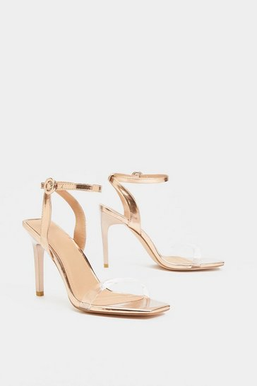Womens Nude Square Breed Metallic Strappy Heel