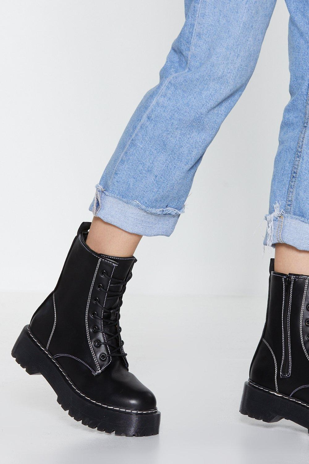 Stitch Y Situation Biker Boot by Nasty Gal